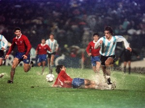 Un giovanissimo Gabriel Omar Batistuta, trascinatore della nazionale albiceleste nell'ultima edizione della Copa América giocata in Cile.